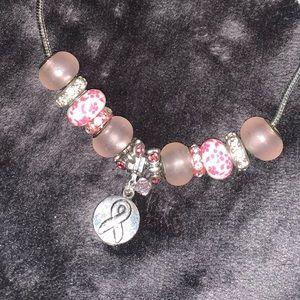 Breast Cancer Hope Ribbon Charm Bracelet